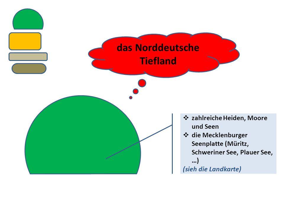 das Norddeutsche Tiefland  zahlreiche Heiden, Moore und Seen  die Mecklenburger Seenplatte (Müritz, Schweriner See, Plauer See, …) (sieh die Landkar