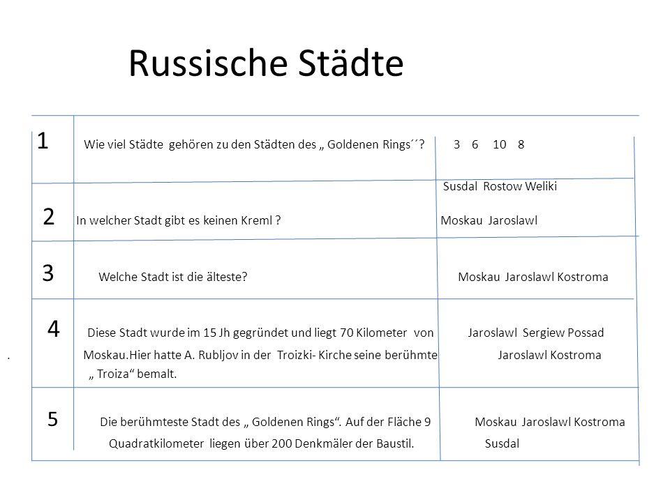 """Russische Städte 1 Wie viel Städte gehören zu den Städten des """" Goldenen Rings´´? 3 6 10 8 Susdal Rostow Weliki 2 In welcher Stadt gibt es keinen Krem"""