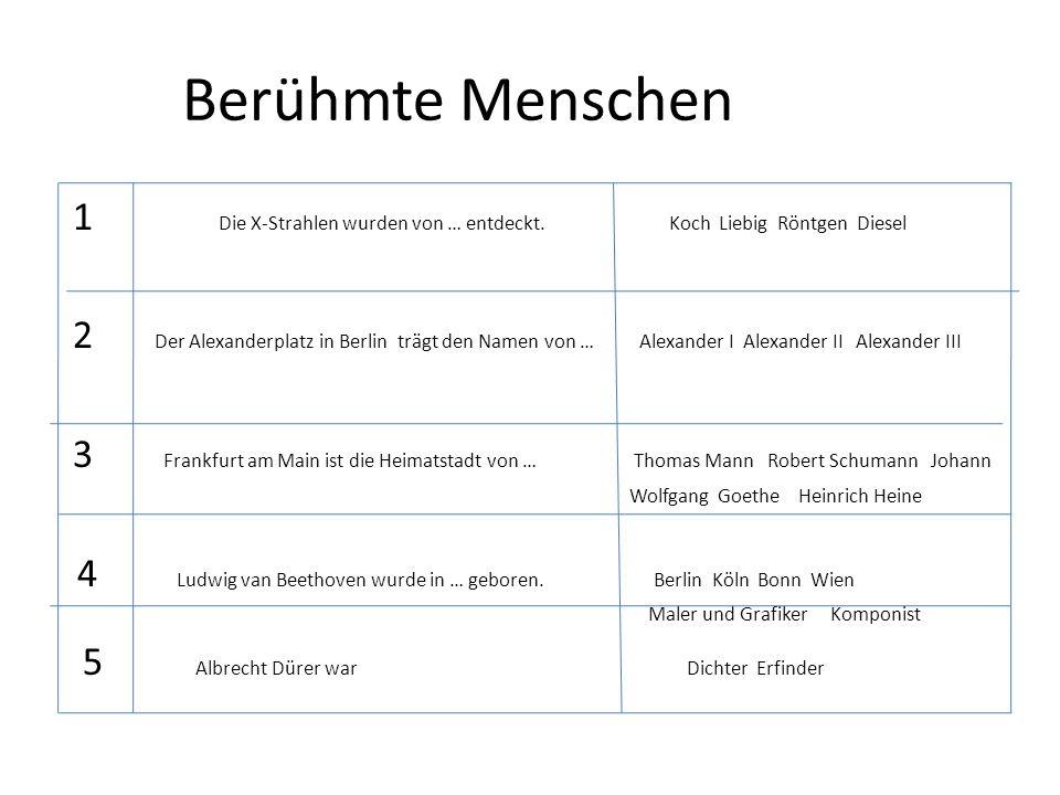 Sehenswürdigkeiten 1 Das olympische Stadien mit dem größten Bremen Lübeck München und teuersten Dach der Welt befindet sich in … 2 Der berühmte Zwinger befindet sich in Dresden München Bonn Berlin 3 Der Kurfürstentum befindet sich in … Köln Bonn Berlin Dresden 4 Das Verkehrsmuseum befindet sich in Dresden München Bonn Nürnberg 5 Diese Stadt nennt man die Stadt der Musik, Dresden München Leipzig Berlin der Messe und des Buches.