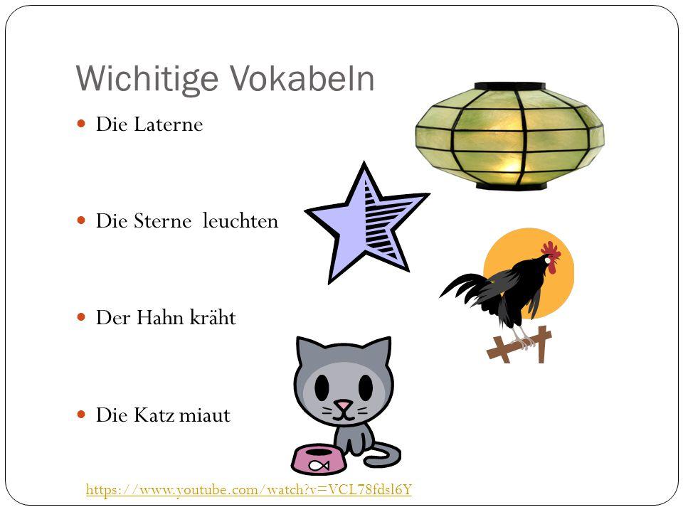 Wichitige Vokabeln Die Laterne Die Sterne leuchten Der Hahn kräht Die Katz miaut https://www.youtube.com/watch?v=VCL78fdsl6Y