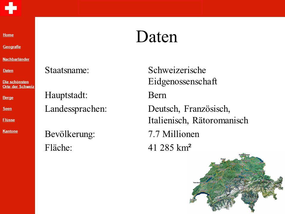 Daten Staatsname:Schweizerische Eidgenossenschaft Hauptstadt:Bern Landessprachen:Deutsch, Französisch, Italienisch, Rätoromanisch Bevölkerung: 7.7 Millionen Fläche:41 285 km ² Home Geografie Daten Die schönsten Orte der Schweiz Nachbarländer Berge Flüsse Seen Kantone