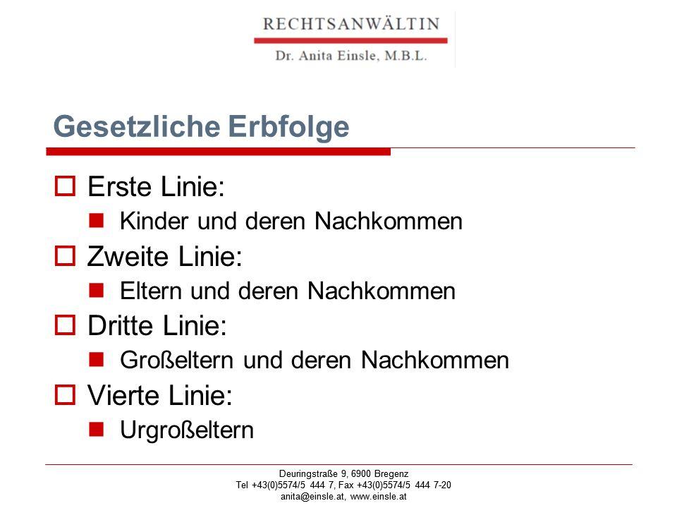 Deuringstraße 9, 6900 Bregenz Tel +43(0)5574/5 444 7, Fax +43(0)5574/5 444 7-20 anita@einsle.at, www.einsle.at Deuringstraße 9, 6900 Bregenz Tel +43(0)5574/5 444 7, Fax +43(0)5574/5 444 7-20 anita@einsle.at, www.einsle.at Ehegattenerbrecht  Ein Drittel neben der ersten Linie  Zwei Drittel neben der zweiten oder dritten Linie Kein Anspruch bei Scheidung!!!!!!