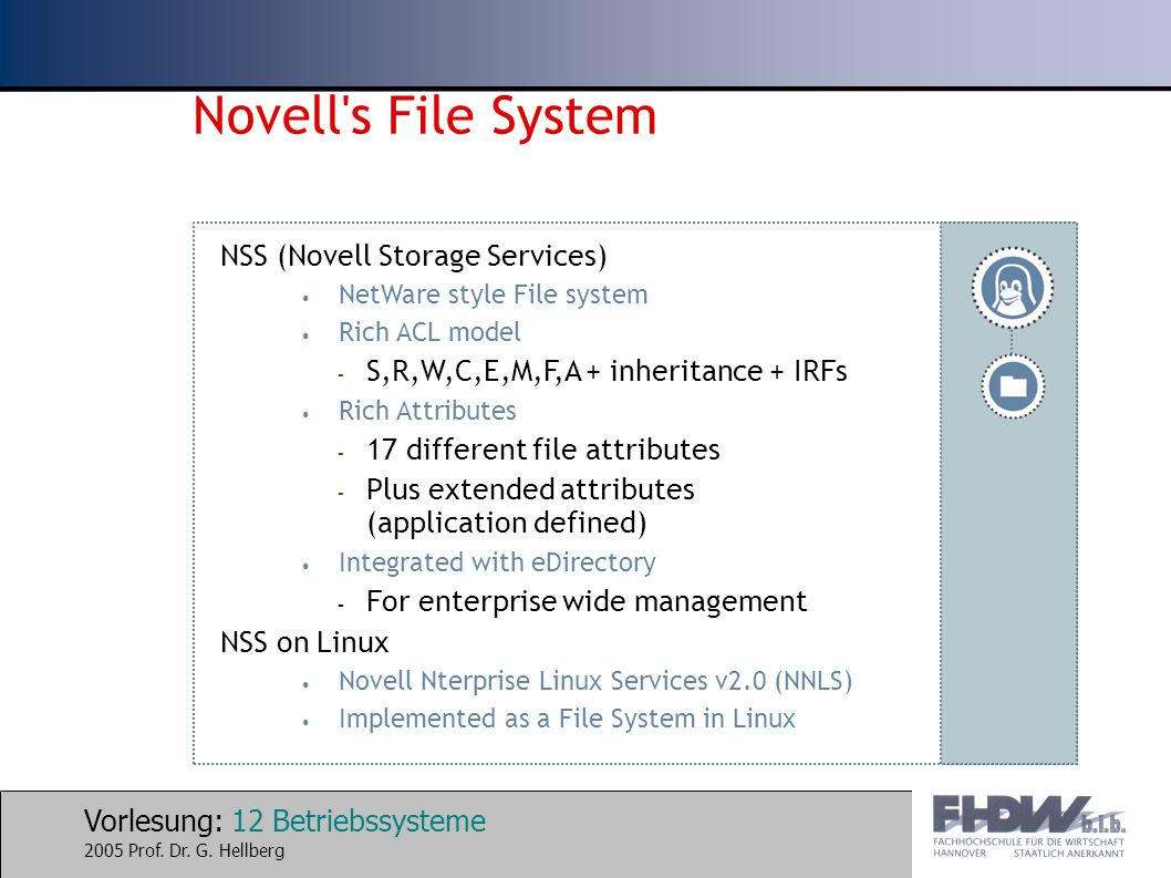 Vorlesung: 12 Betriebssysteme 2005 Prof. Dr. G. Hellberg Novell's File System NSS (Novell Storage Services) NetWare style File system Rich ACL model –