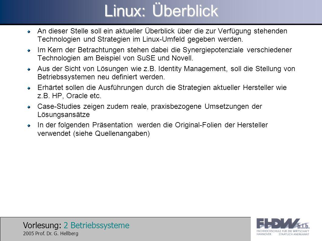 Vorlesung: 2 Betriebssysteme 2005 Prof. Dr. G. Hellberg Linux: Überblick An dieser Stelle soll ein aktueller Überblick über die zur Verfügung stehende