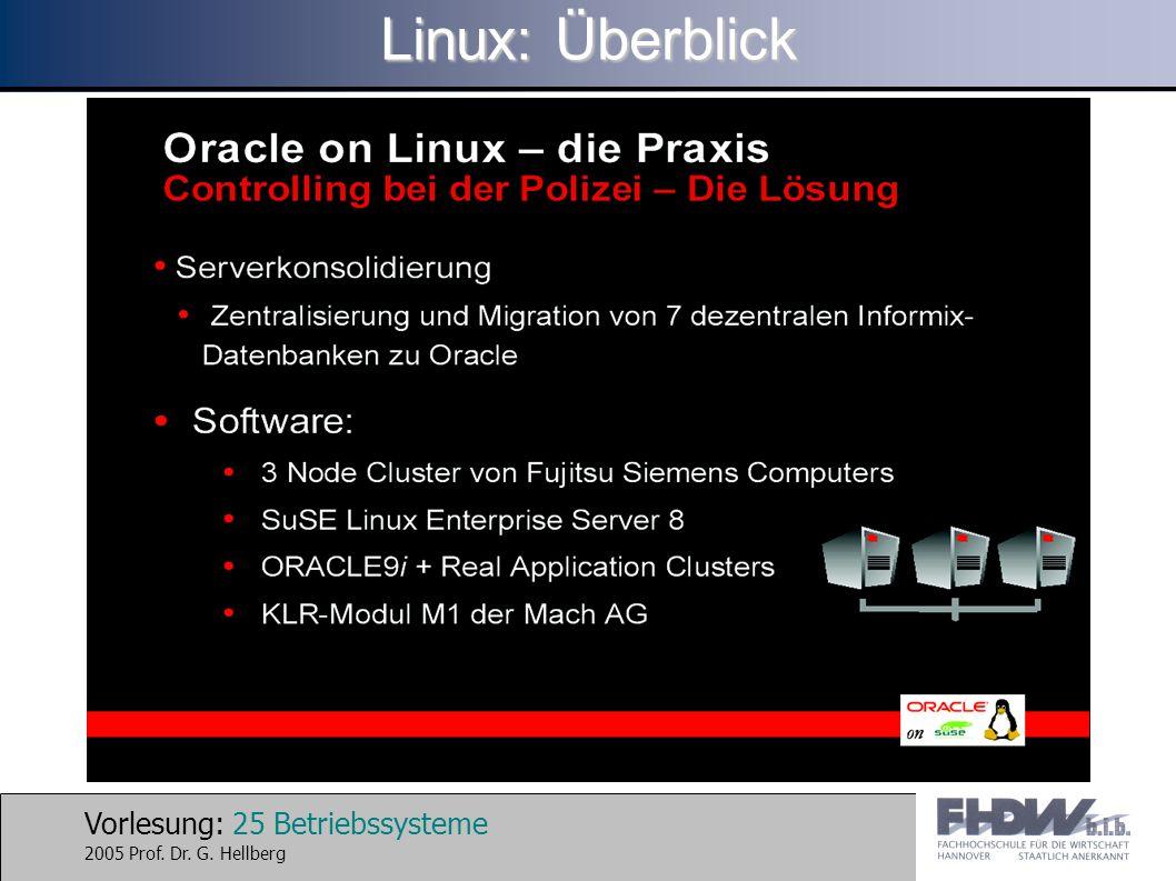 Vorlesung: 25 Betriebssysteme 2005 Prof. Dr. G. Hellberg Linux: Überblick