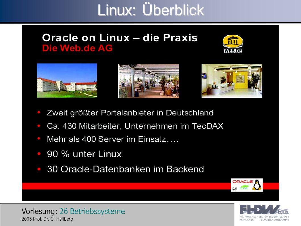 Vorlesung: 26 Betriebssysteme 2005 Prof. Dr. G. Hellberg Linux: Überblick