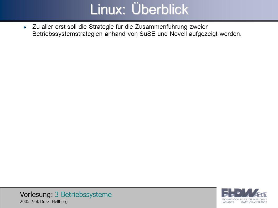Vorlesung: 3 Betriebssysteme 2005 Prof. Dr. G. Hellberg Linux: Überblick Zu aller erst soll die Strategie für die Zusammenführung zweier Betriebssyste