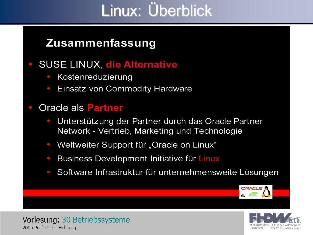 Vorlesung: 30 Betriebssysteme 2005 Prof. Dr. G. Hellberg Linux: Überblick