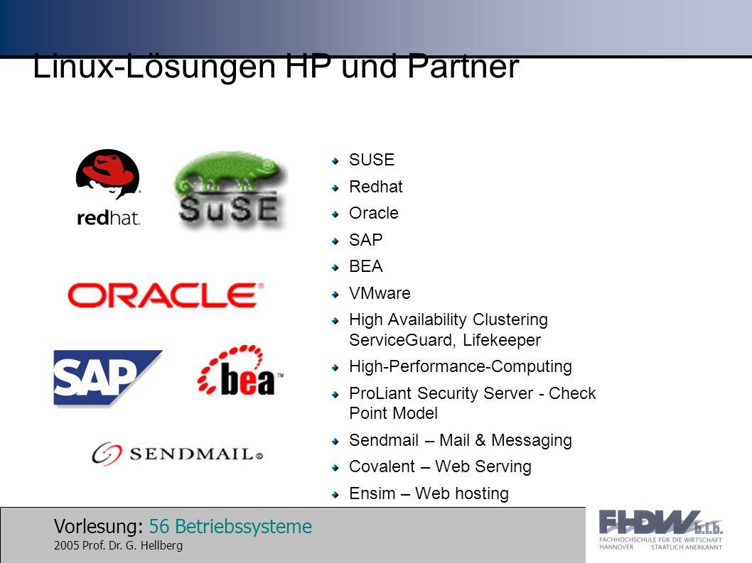 Vorlesung: 56 Betriebssysteme 2005 Prof. Dr. G. Hellberg Linux-Lösungen HP und Partner SUSE Redhat Oracle SAP BEA VMware High Availability Clustering