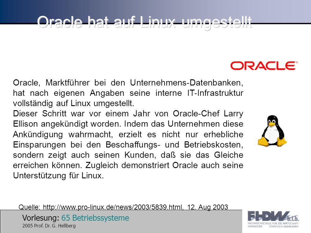 Vorlesung: 65 Betriebssysteme 2005 Prof. Dr. G. Hellberg Oracle hat auf Linux umgestellt Oracle, Marktführer bei den Unternehmens-Datenbanken, hat nac