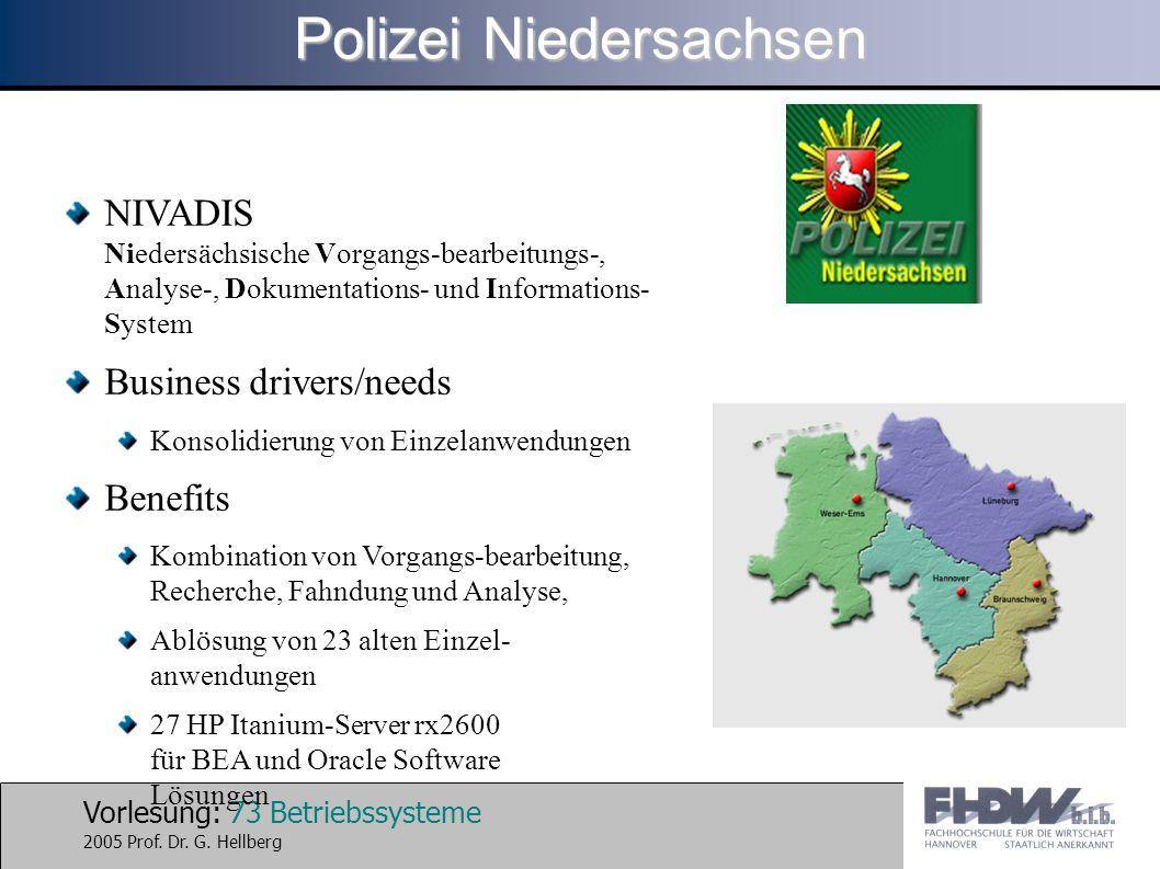 Vorlesung: 73 Betriebssysteme 2005 Prof. Dr. G. Hellberg NIVADIS Niedersächsische Vorgangs-bearbeitungs-, Analyse-, Dokumentations- und Informations-