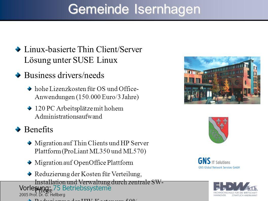 Vorlesung: 75 Betriebssysteme 2005 Prof. Dr. G. Hellberg Linux-basierte Thin Client/Server Lösung unter SUSE Linux Business drivers/needs hohe Lizenzk