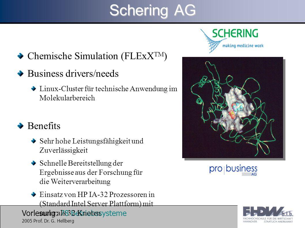 Vorlesung: 78 Betriebssysteme 2005 Prof. Dr. G. Hellberg Chemische Simulation (FLExX TM ) Business drivers/needs Linux-Cluster für technische Anwendun