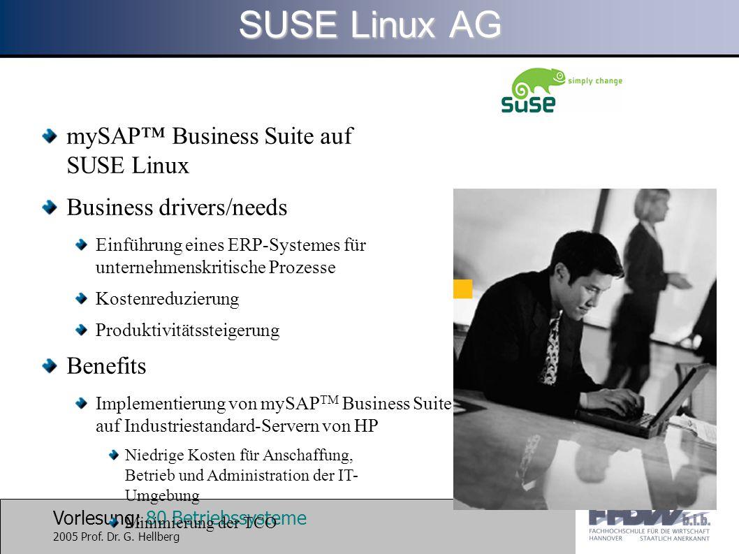 Vorlesung: 80 Betriebssysteme 2005 Prof. Dr. G. Hellberg mySAP™ Business Suite auf SUSE Linux Business drivers/needs Einführung eines ERP-Systemes für