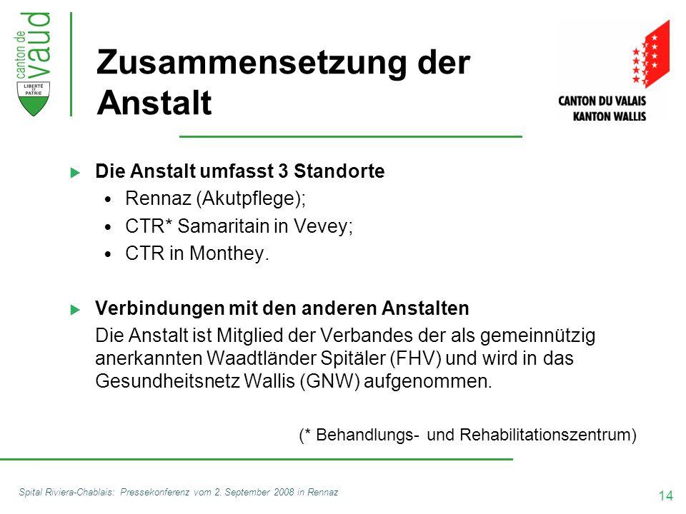 14 Spital Riviera-Chablais: Pressekonferenz vom 2. September 2008 in Rennaz Zusammensetzung der Anstalt  Die Anstalt umfasst 3 Standorte Rennaz (Akut