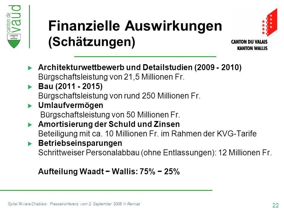 22 Spital Riviera-Chablais: Pressekonferenz vom 2. September 2008 in Rennaz Finanzielle Auswirkungen (Schätzungen)  Architekturwettbewerb und Details