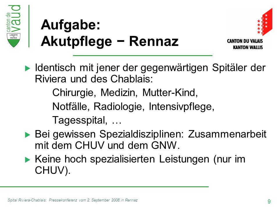 9 Spital Riviera-Chablais: Pressekonferenz vom 2. September 2008 in Rennaz Aufgabe: Akutpflege − Rennaz  Identisch mit jener der gegenwärtigen Spitäl