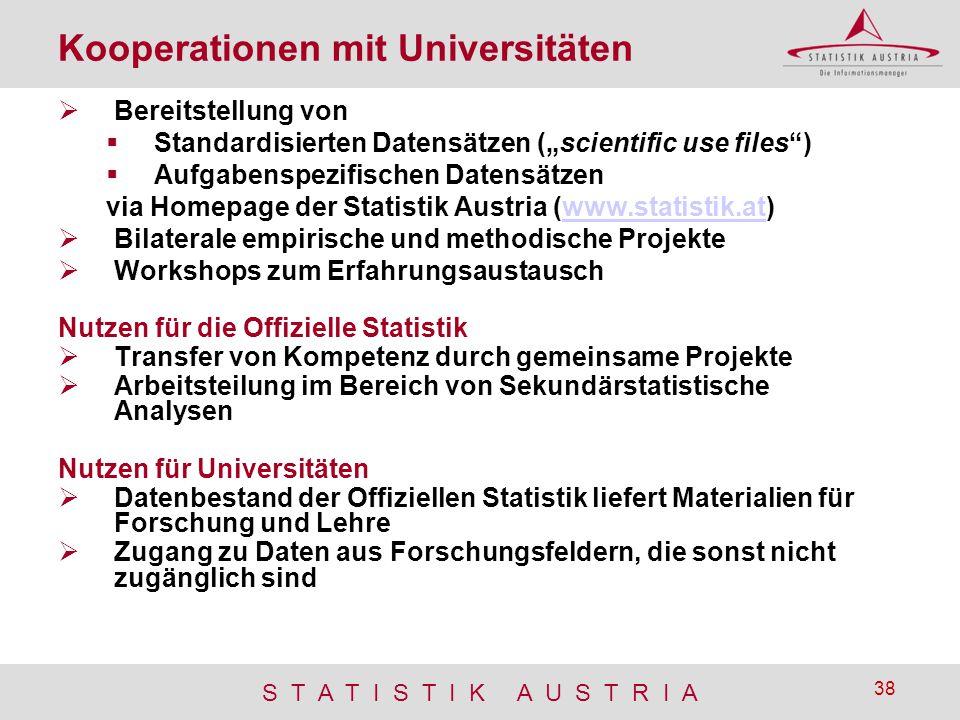 """S T A T I S T I K A U S T R I A 38 Kooperationen mit Universitäten  Bereitstellung von  Standardisierten Datensätzen (""""scientific use files"""")  Aufg"""