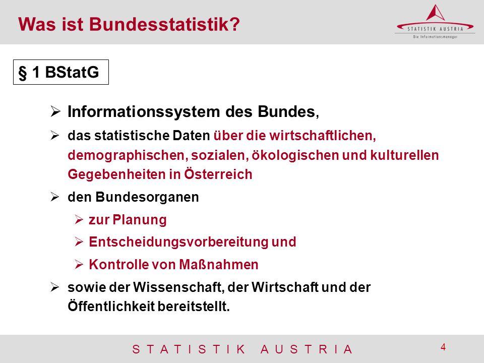 S T A T I S T I K A U S T R I A 4 Was ist Bundesstatistik?  Informationssystem des Bundes,  das statistische Daten über die wirtschaftlichen, demogr