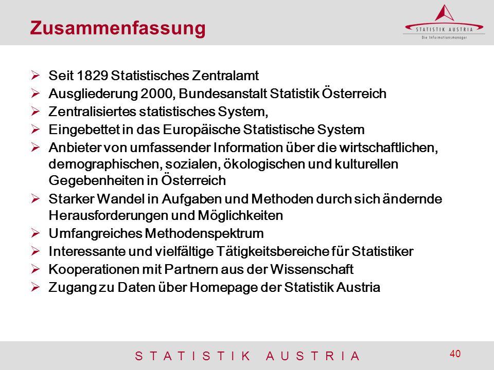 S T A T I S T I K A U S T R I A 40 Zusammenfassung  Seit 1829 Statistisches Zentralamt  Ausgliederung 2000, Bundesanstalt Statistik Österreich  Zen
