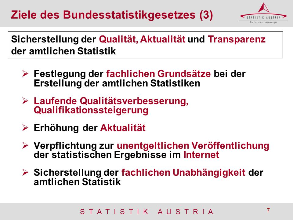 S T A T I S T I K A U S T R I A 7  Festlegung der fachlichen Grundsätze bei der Erstellung der amtlichen Statistiken  Laufende Qualitätsverbesserung
