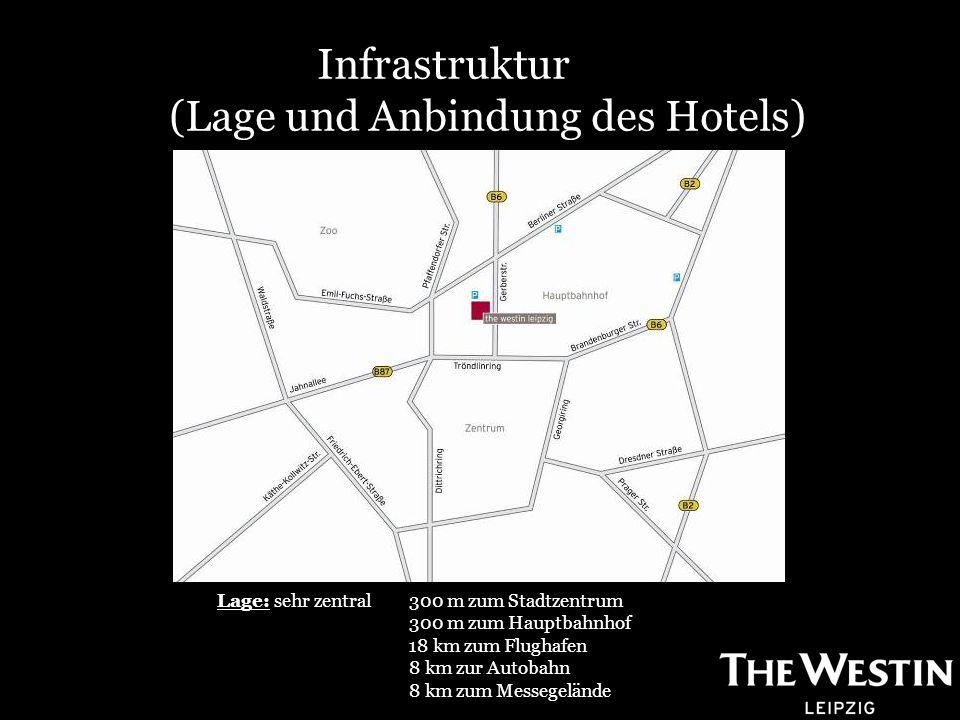 Infrastruktur (Lage und Anbindung des Hotels) Lage: sehr zentral 300 m zum Stadtzentrum 300 m zum Hauptbahnhof 18 km zum Flughafen 8 km zur Autobahn 8 km zum Messegelände
