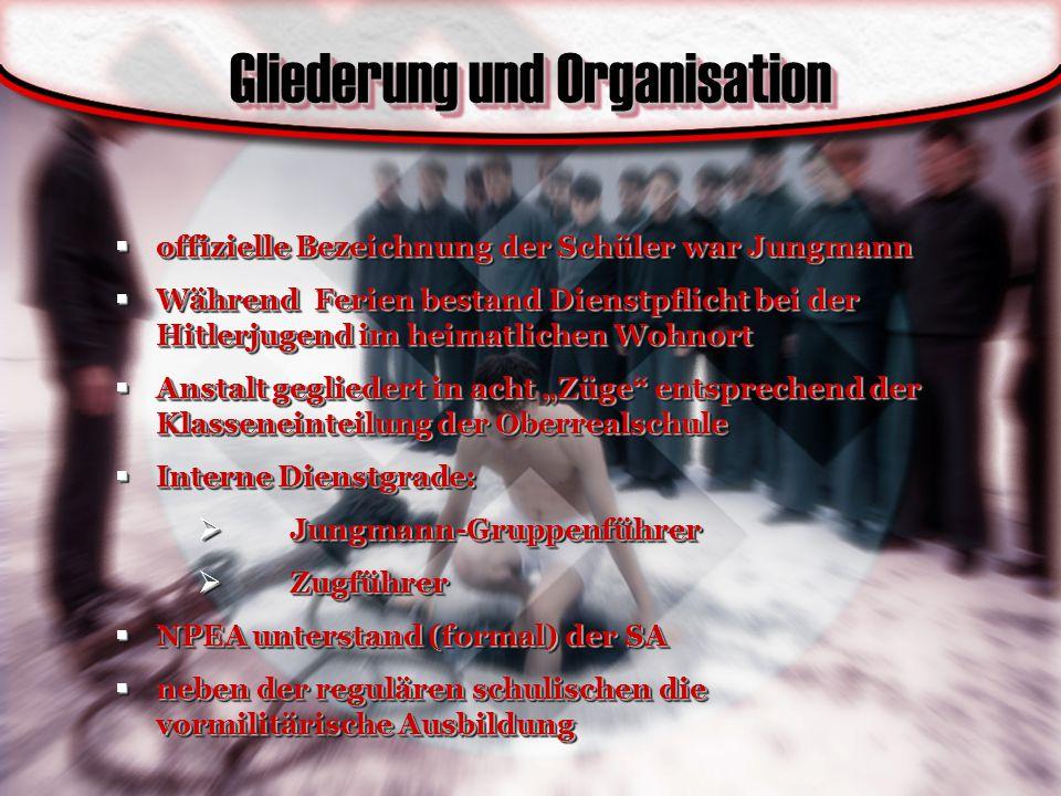 Gliederung und Organisation  offizielle Bezeichnung der Schüler war Jungmann  Während Ferien bestand Dienstpflicht bei der Hitlerjugend im heimatlic