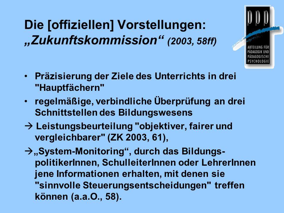 """Die [offiziellen] Vorstellungen: """"Zukunftskommission"""" (2003, 58ff) Präzisierung der Ziele des Unterrichts in drei"""