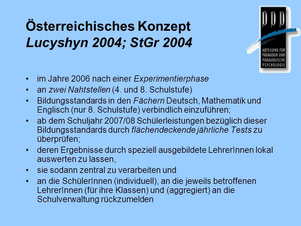 Österreichisches Konzept Lucyshyn 2004; StGr 2004 im Jahre 2006 nach einer Experimentierphase an zwei Nahtstellen (4. und 8. Schulstufe) Bildungsstand