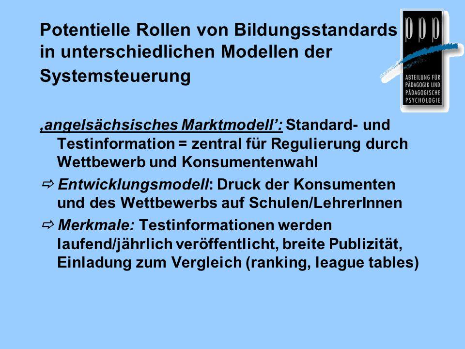Potentielle Rollen von Bildungsstandards in unterschiedlichen Modellen der Systemsteuerung 'angelsächsisches Marktmodell': Standard- und Testinformati