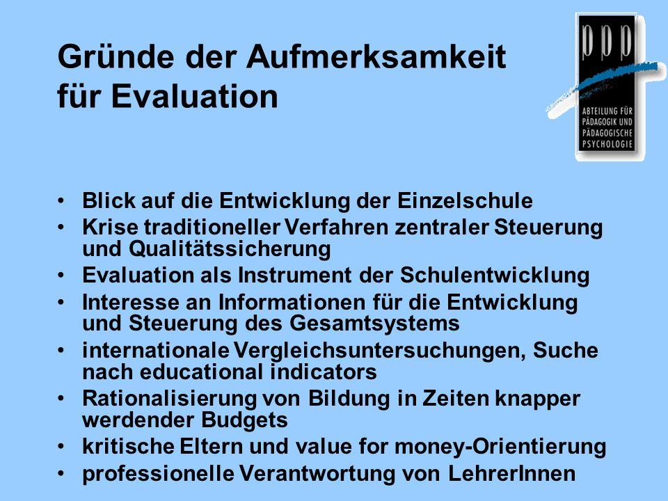 Gründe der Aufmerksamkeit für Evaluation Blick auf die Entwicklung der Einzelschule Krise traditioneller Verfahren zentraler Steuerung und Qualitätssi