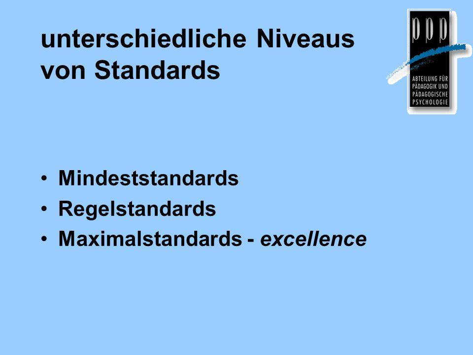 Merkmale guter Bildungs- standards (Klieme et al., 18) Fachlichkeitauf bestimmten Lernbereich / Disziplin bezogen Fokussierung auf Kernbereich nicht die gesamte Breite KumulativitätKompetenzen am Ende eines sinnvollen Lernabschnittes Verbindlichkeit für alledrücken Mindestvoraussetzungen aus Differenzierungdifferenzieren zwischen Kompetenzstufen über/unter Mindestniveau VerständlichkeitFormulierung ist klar, knapp, nachvollziehbar Realisierbarkeitmit einem realistischen Aufwand erreichbar