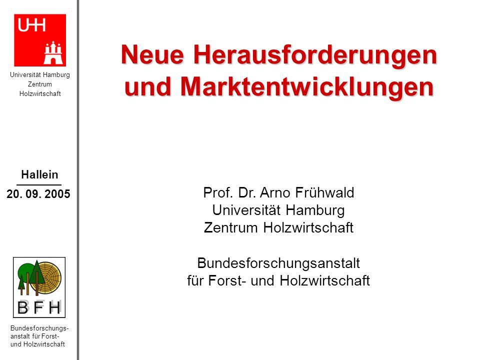 Universität Hamburg Zentrum Holzwirtschaft Bundesforschungs- anstalt für Forst- und Holzwirtschaft Hallein 20. 09. 2005 Neue Herausforderungen und Mar