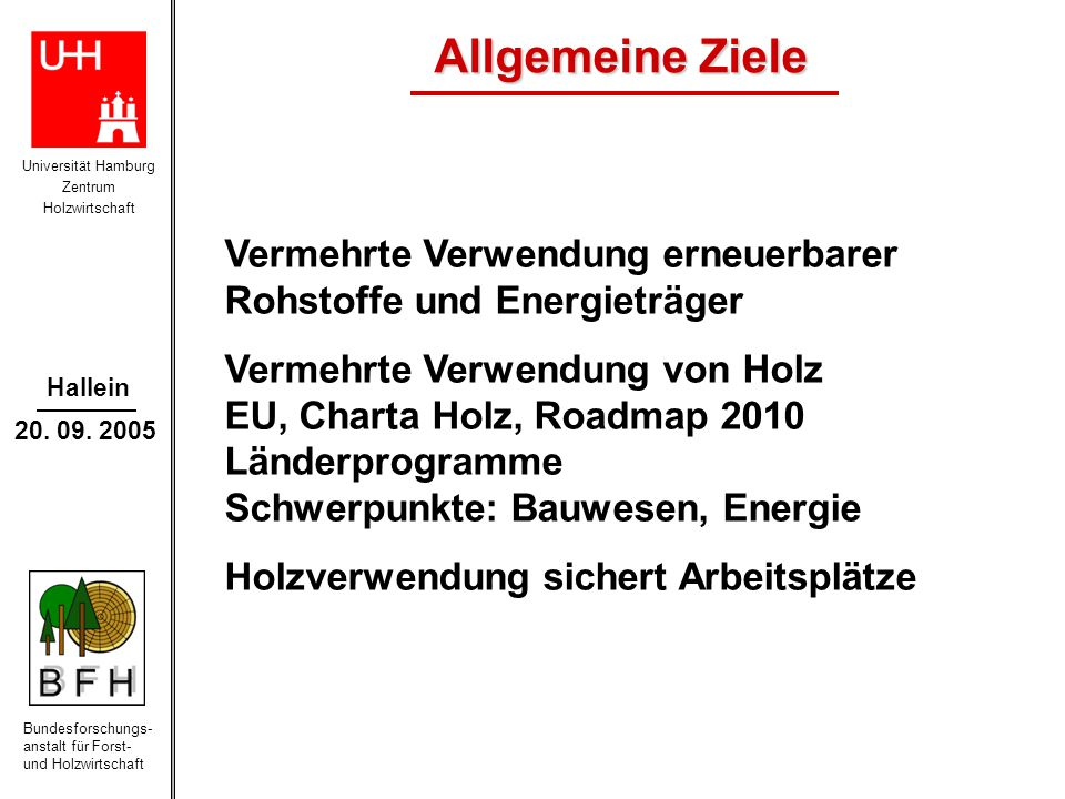 Universität Hamburg Zentrum Holzwirtschaft Bundesforschungs- anstalt für Forst- und Holzwirtschaft Hallein 20. 09. 2005 Allgemeine Ziele Vermehrte Ver