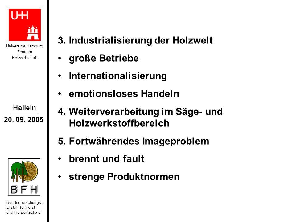 Universität Hamburg Zentrum Holzwirtschaft Bundesforschungs- anstalt für Forst- und Holzwirtschaft Hallein 20. 09. 2005 3.Industrialisierung der Holzw