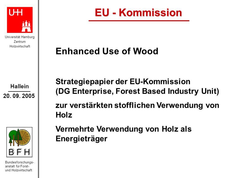 Universität Hamburg Zentrum Holzwirtschaft Bundesforschungs- anstalt für Forst- und Holzwirtschaft Hallein 20. 09. 2005 EU - Kommission Enhanced Use o
