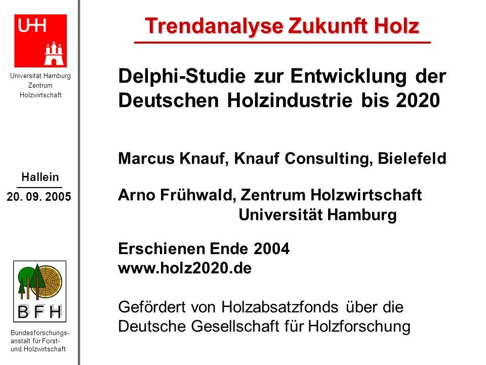 Universität Hamburg Zentrum Holzwirtschaft Bundesforschungs- anstalt für Forst- und Holzwirtschaft Hallein 20. 09. 2005 Delphi-Studie zur Entwicklung