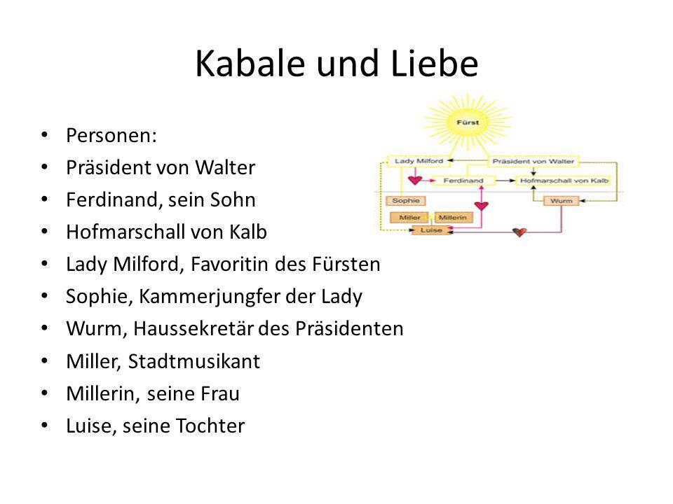 Kabale und Liebe Personen: Präsident von Walter Ferdinand, sein Sohn Hofmarschall von Kalb Lady Milford, Favoritin des Fürsten Sophie, Kammerjungfer d
