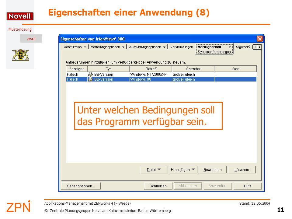 © Zentrale Planungsgruppe Netze am Kultusministerium Baden-Württemberg Musterlösung Stand: 12.05.2004 11 Applikations-Management mit ZENworks 4 (F.Wre
