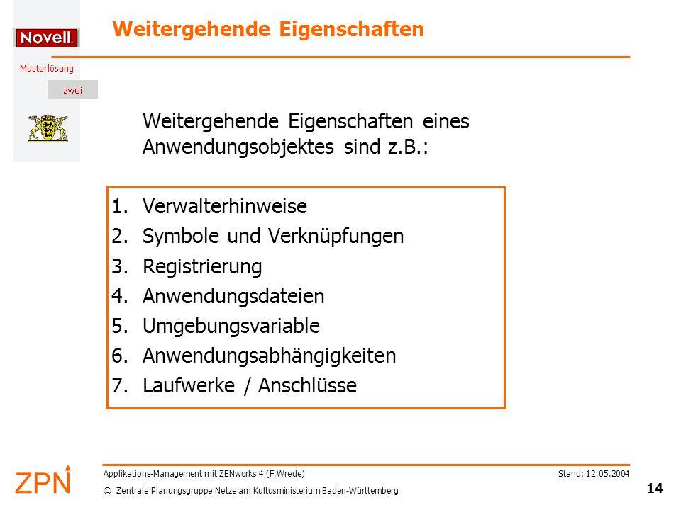 © Zentrale Planungsgruppe Netze am Kultusministerium Baden-Württemberg Musterlösung Stand: 12.05.2004 14 Applikations-Management mit ZENworks 4 (F.Wre
