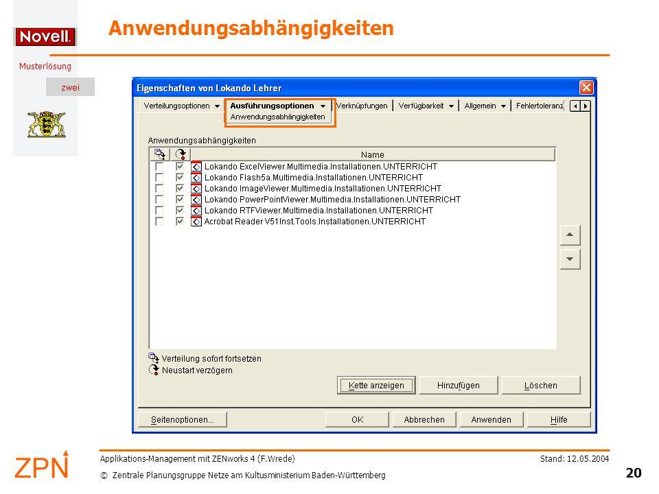 © Zentrale Planungsgruppe Netze am Kultusministerium Baden-Württemberg Musterlösung Stand: 12.05.2004 20 Applikations-Management mit ZENworks 4 (F.Wre