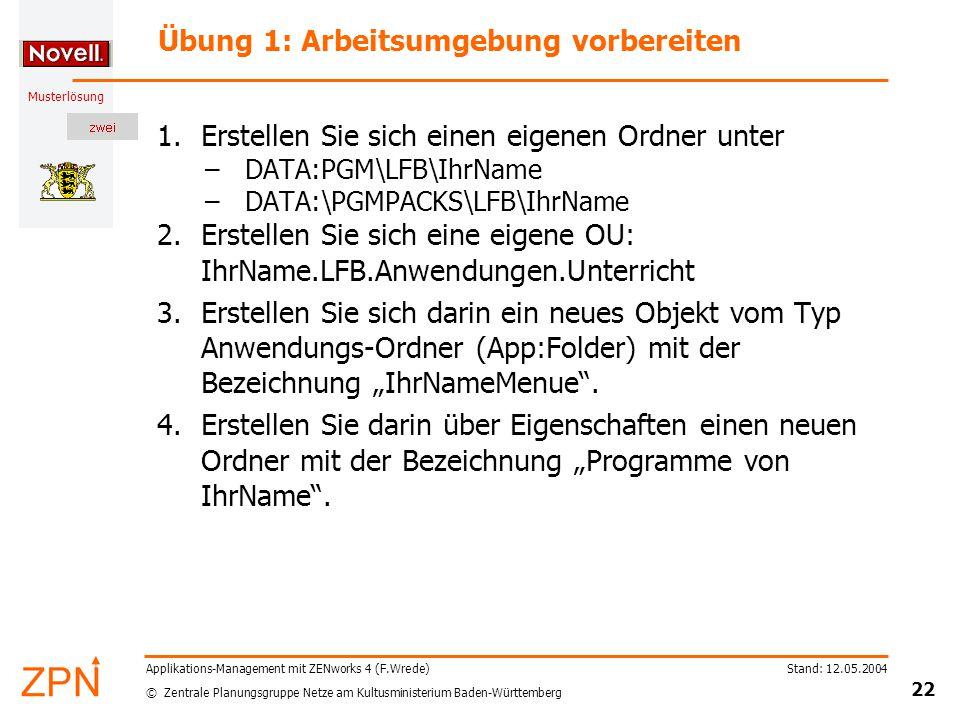 © Zentrale Planungsgruppe Netze am Kultusministerium Baden-Württemberg Musterlösung Stand: 12.05.2004 22 Applikations-Management mit ZENworks 4 (F.Wre