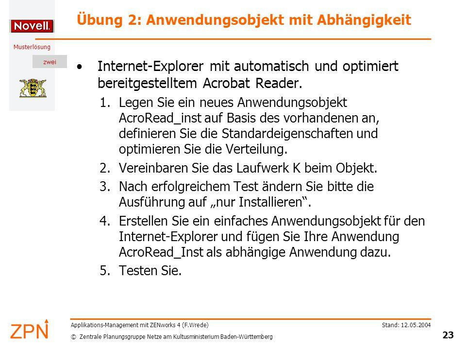 © Zentrale Planungsgruppe Netze am Kultusministerium Baden-Württemberg Musterlösung Stand: 12.05.2004 23 Applikations-Management mit ZENworks 4 (F.Wre