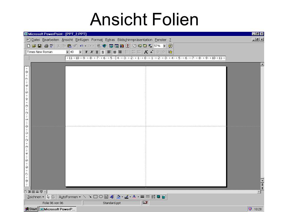 Menüleiste Ansichten Folie Gliederung Foliensortierung Notizen Bildschirmpräsentation Master(!) » J. Lehnen © 2003