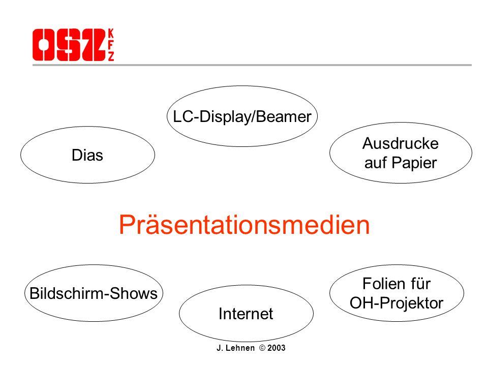 Agenda Vorüberlegungen für Präsentationen Präsentationen mit Powerpoint Übungen bearbeiten Eigene Powerpoint-Präsentation erstellen J. Lehnen © 2003