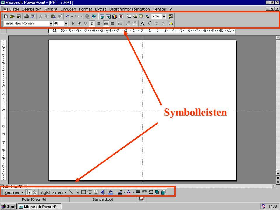 Symbolleiste Autoformen Linien, Linienstärke, Linienfarbe usw.