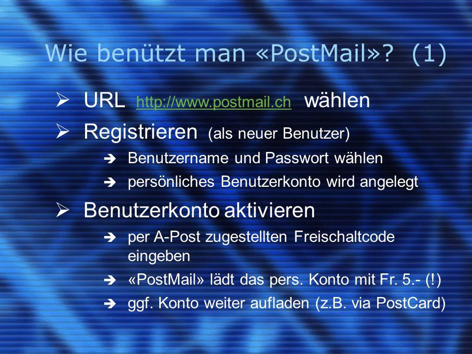 Wie benützt man «PostMail»? (1)  URL http://www.postmail.ch wählen http://www.postmail.ch  Registrieren (als neuer Benutzer)  Benutzername und Pass