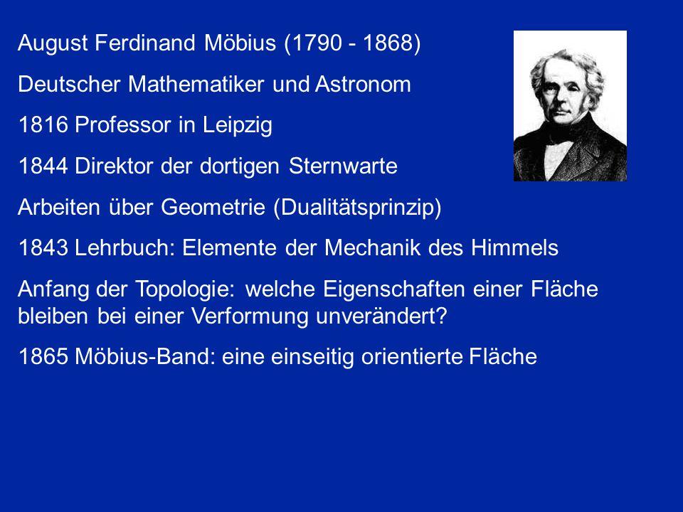August Ferdinand Möbius (1790 - 1868) Deutscher Mathematiker und Astronom 1816 Professor in Leipzig 1844 Direktor der dortigen Sternwarte Arbeiten übe