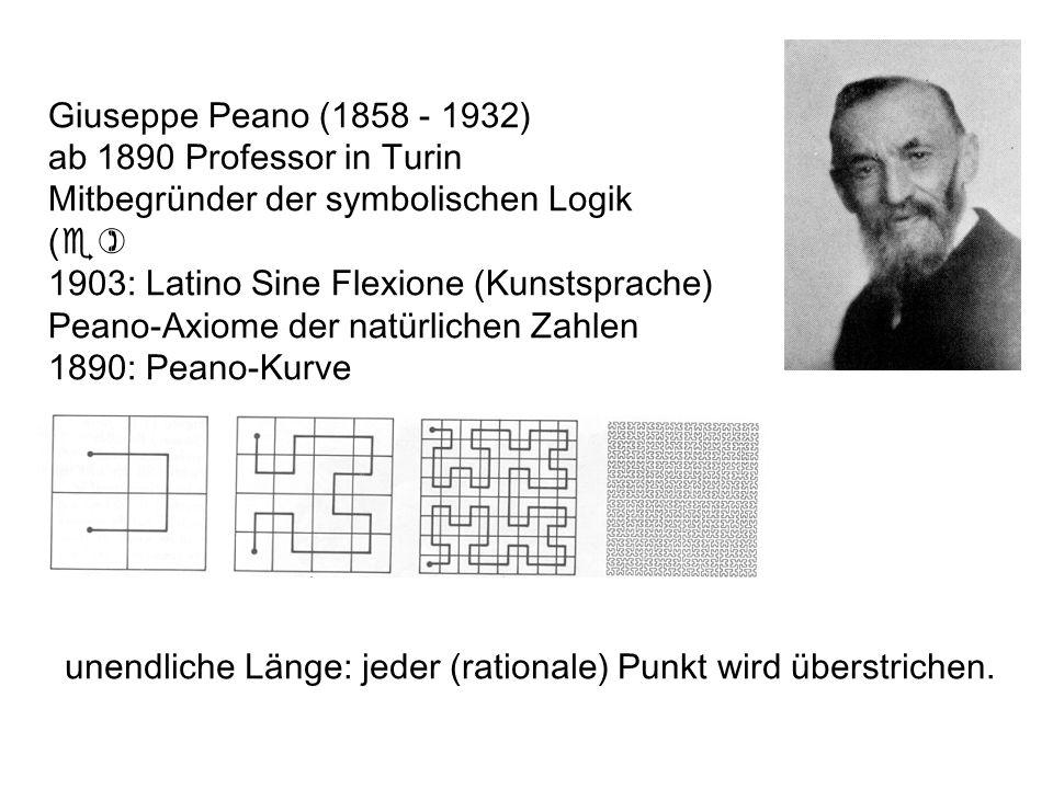 unendliche Länge: jeder (rationale) Punkt wird überstrichen. Giuseppe Peano (1858 - 1932) ab 1890 Professor in Turin Mitbegründer der symbolischen Log
