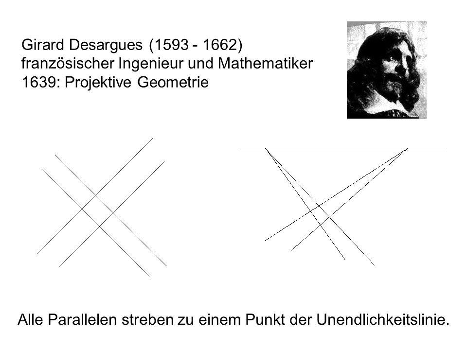 Girard Desargues (1593 - 1662) französischer Ingenieur und Mathematiker 1639: Projektive Geometrie Alle Parallelen streben zu einem Punkt der Unendlichkeitslinie.